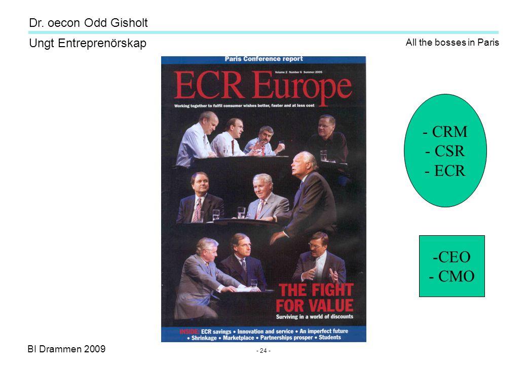 BI Drammen 2009 Ungt Entreprenörskap Dr. oecon Odd Gisholt - 24 - All the bosses in Paris - CRM - CSR - ECR -CEO - CMO