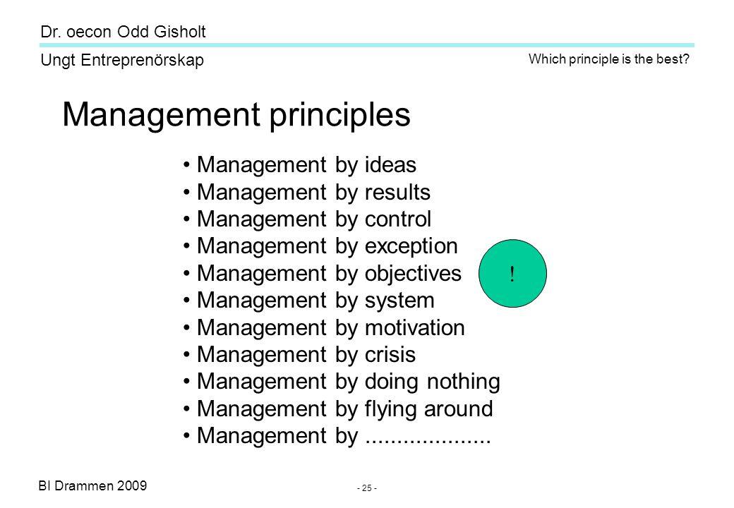 BI Drammen 2009 Ungt Entreprenörskap Dr. oecon Odd Gisholt - 25 - Management principles • Management by ideas • Management by results • Management by
