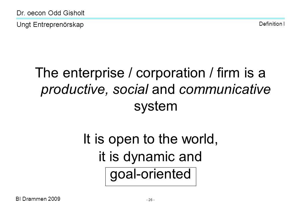 BI Drammen 2009 Ungt Entreprenörskap Dr. oecon Odd Gisholt - 26 - The enterprise / corporation / firm is a productive, social and communicative system