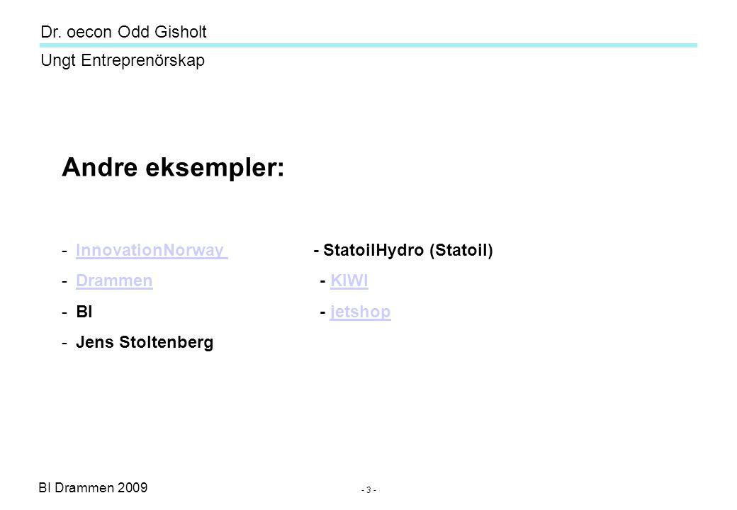 BI Drammen 2009 Ungt Entreprenörskap Dr. oecon Odd Gisholt - 3 - Andre eksempler: -InnovationNorway - StatoilHydro (Statoil)InnovationNorway -Drammen