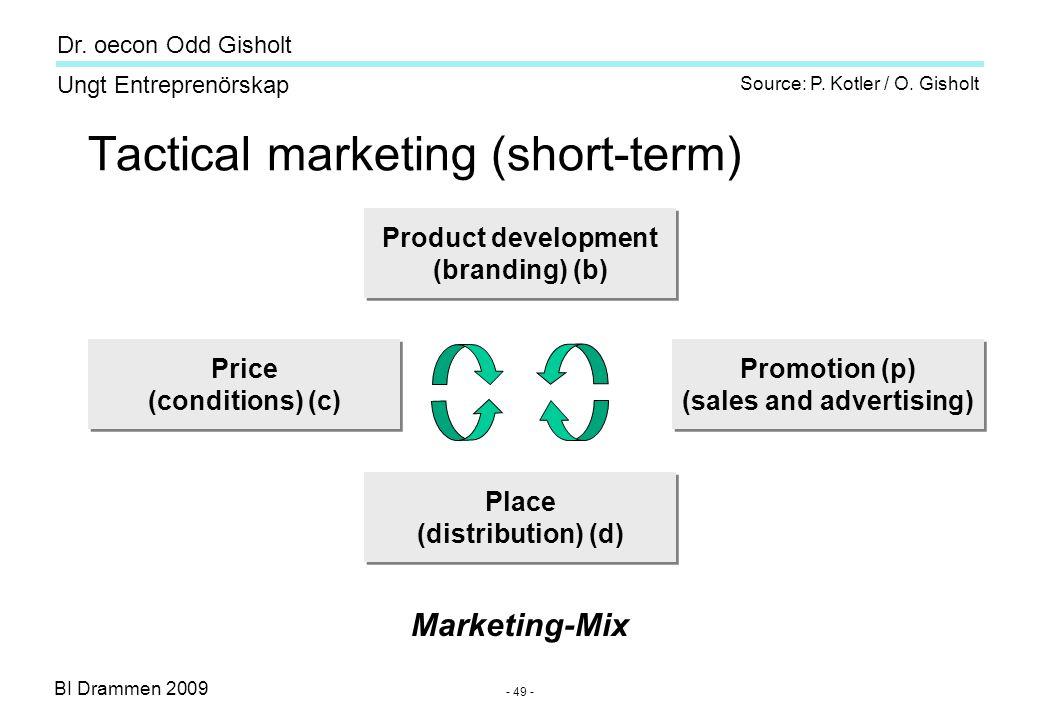 BI Drammen 2009 Ungt Entreprenörskap Dr. oecon Odd Gisholt - 49 - Tactical marketing (short-term) Product development (branding) (b) Product developme