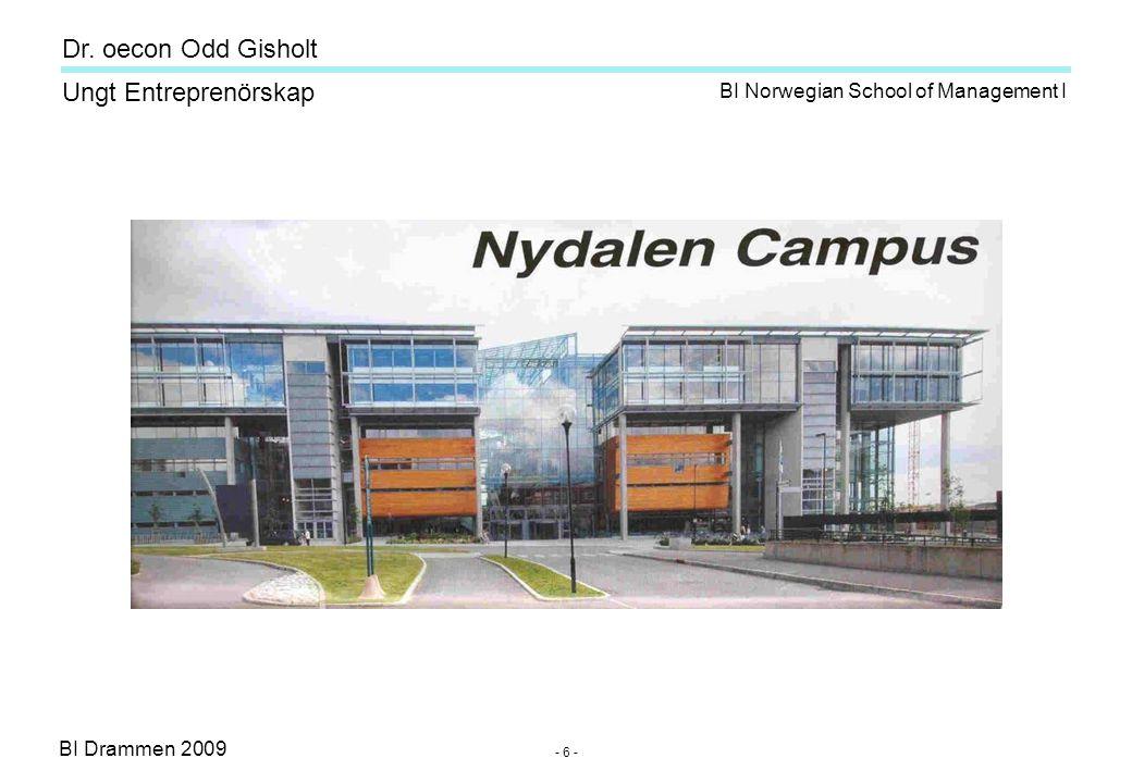 BI Drammen 2009 Ungt Entreprenörskap Dr. oecon Odd Gisholt - 6 - BI Norwegian School of Management I