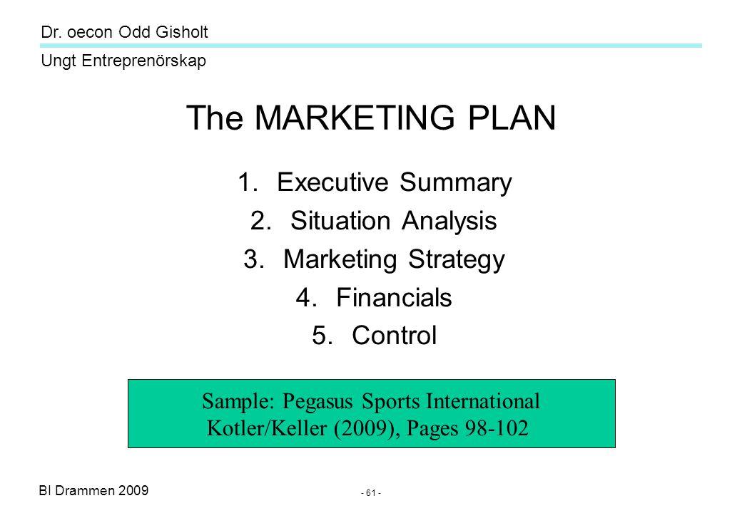 BI Drammen 2009 Ungt Entreprenörskap Dr. oecon Odd Gisholt - 61 - The MARKETING PLAN 1.Executive Summary 2.Situation Analysis 3.Marketing Strategy 4.F