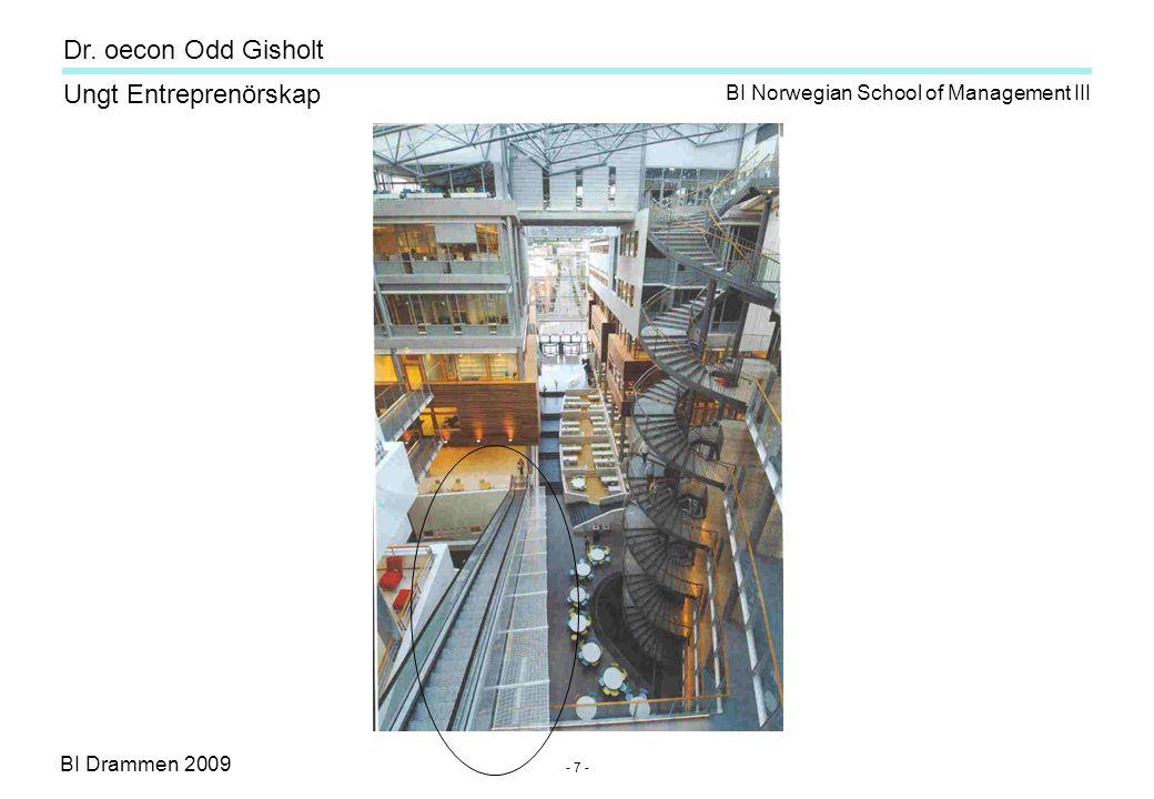 BI Drammen 2009 Ungt Entreprenörskap Dr. oecon Odd Gisholt - 7 - BI Norwegian School of Management III