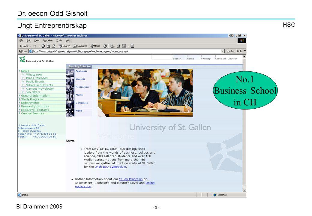 BI Drammen 2009 Ungt Entreprenörskap Dr. oecon Odd Gisholt - 8 - HSG No.1 Business School in CH