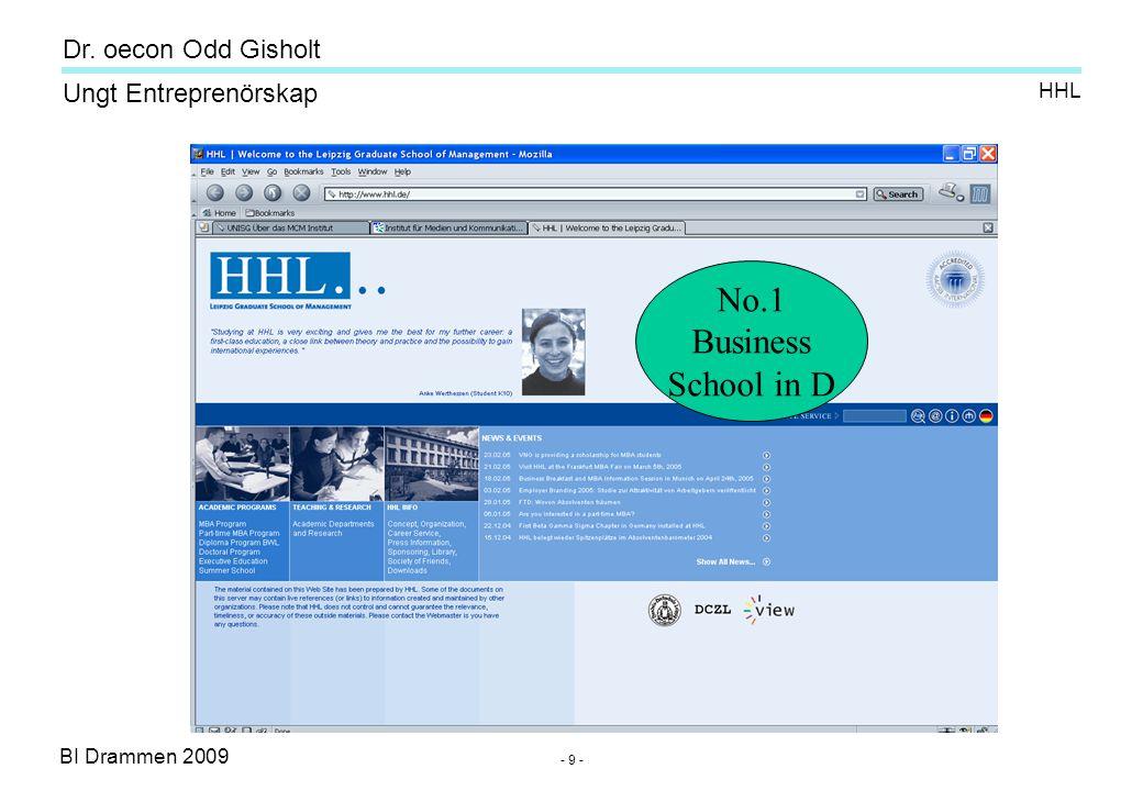 BI Drammen 2009 Ungt Entreprenörskap Dr.oecon Odd Gisholt - 40 - Source: P.