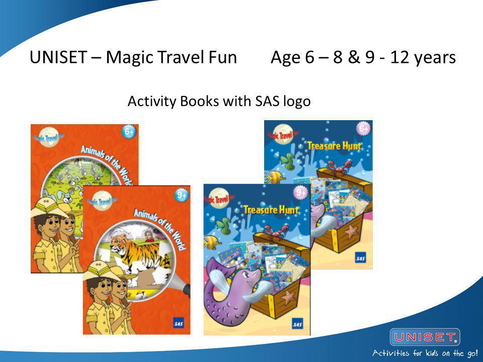 UNISET – Magic Travel FunAge 6 – 8 & 9 - 12 years Activity Books with SAS logo
