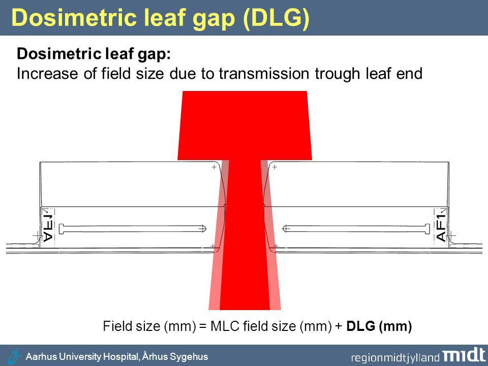 Aarhus University Hospital, Århus Sygehus Dosimetric leaf gap (DLG) Dosimetric leaf gap: Increase of field size due to transmission trough leaf end Fi
