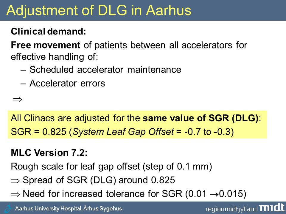 Aarhus University Hospital, Århus Sygehus Adjustment of DLG in Aarhus Clinical demand: Free movement of patients between all accelerators for effectiv