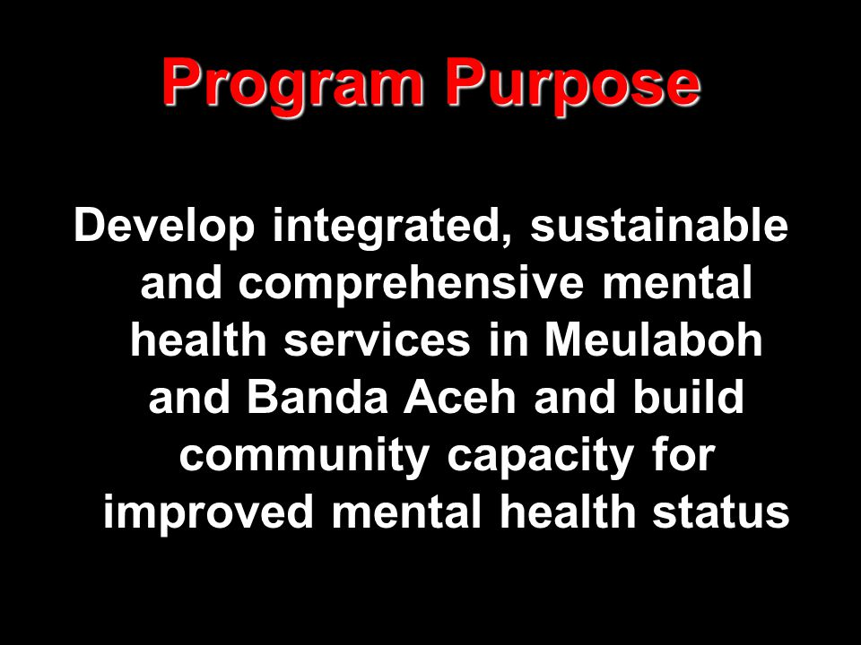 Program Purpose Develop integrated, sustainable and comprehensive mental health services in Meulaboh and Banda Aceh and build community capacity for i
