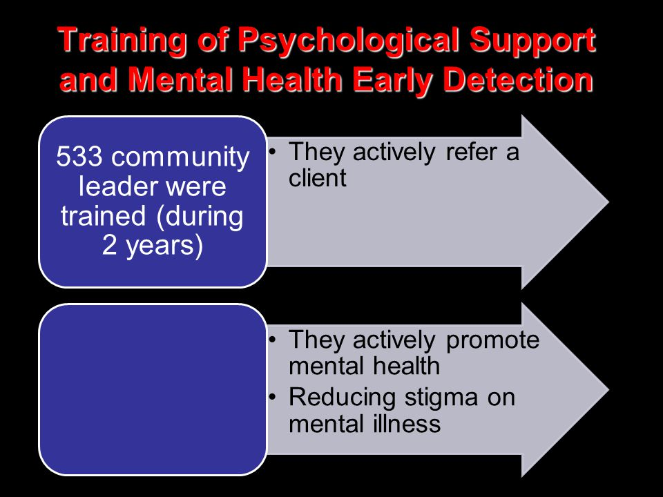 Training of Psychological Support and Mental Health Early Detection •They actively refer a client 533 community leader were trained (during 2 years) •