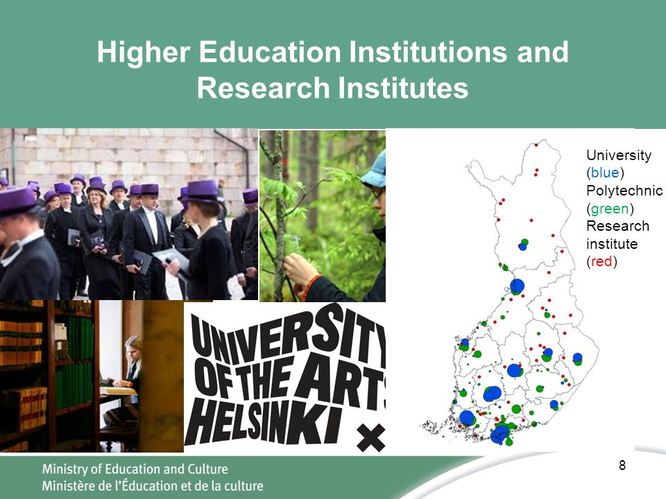Higher Education Institutions and Research Institutes 8 University (blue) Polytechnic (green) Research institute (red)