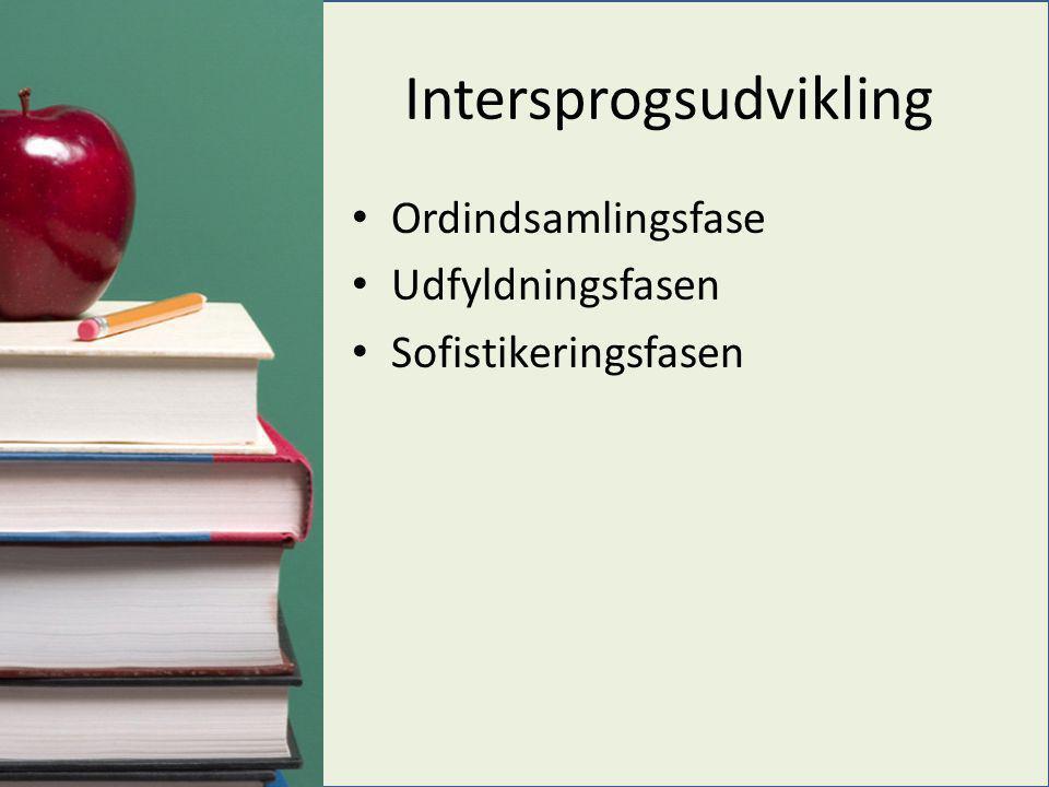 Intersprogsudvikling • Ordindsamlingsfase • Udfyldningsfasen • Sofistikeringsfasen
