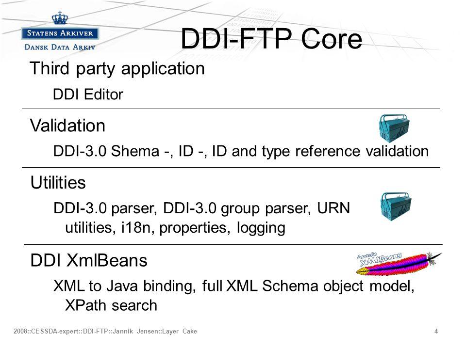 –Fjerde niveau 2008::CESSDA-expert::DDI-FTP::Jannik Jensen::Layer Cake4 DDI-FTP Core Validation DDI-3.0 Shema -, ID -, ID and type reference validation Utilities DDI-3.0 parser, DDI-3.0 group parser, URN utilities, i18n, properties, logging DDI XmlBeans XML to Java binding, full XML Schema object model, XPath search Third party application DDI Editor
