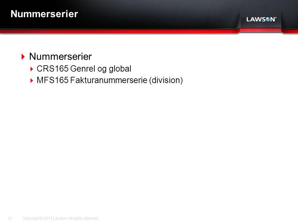 Lawson Template V.2 July 29, 2011 Nummerserier  Nummerserier  CRS165 Genrel og global  MFS165 Fakturanummerserie (division) Copyright © 2011 Lawson.