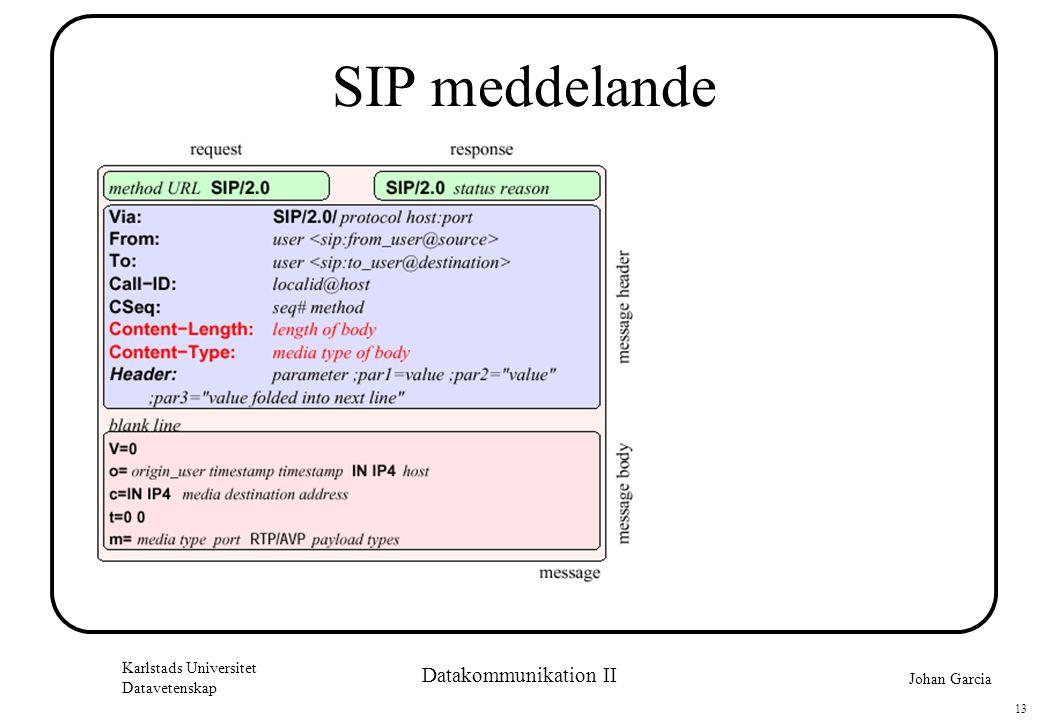 Johan Garcia Karlstads Universitet Datavetenskap 13 Datakommunikation II SIP meddelande