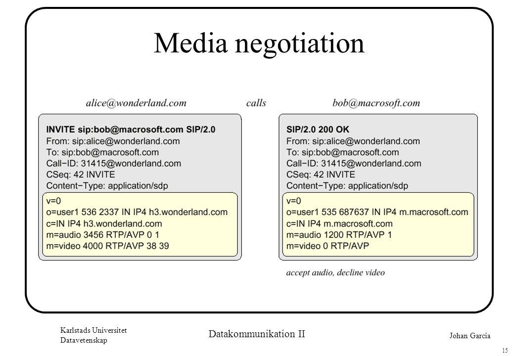 Johan Garcia Karlstads Universitet Datavetenskap 15 Datakommunikation II Media negotiation