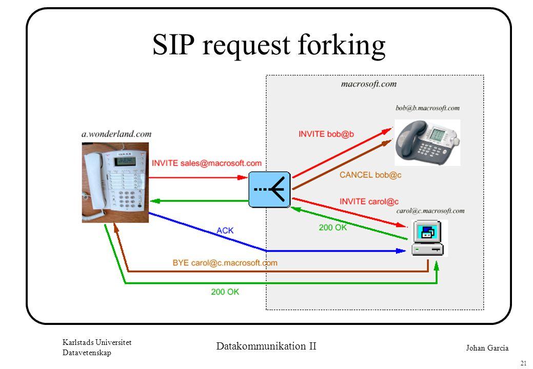 Johan Garcia Karlstads Universitet Datavetenskap 21 Datakommunikation II SIP request forking