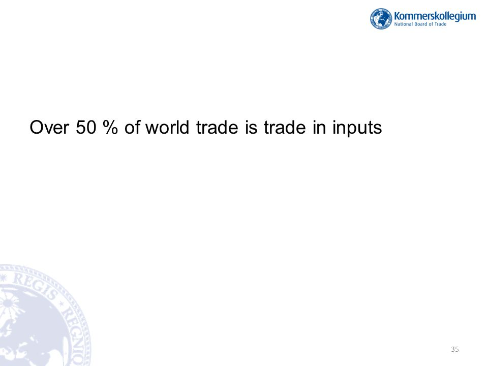 Over 50 % of world trade is trade in inputs 35