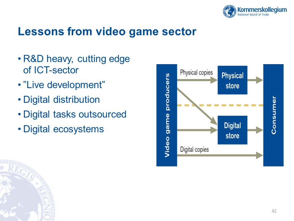 Lessons from video game sector •R&D heavy, cutting edge of ICT-sector • Live development •Digital distribution •Digital tasks outsourced •Digital ecosystems 42