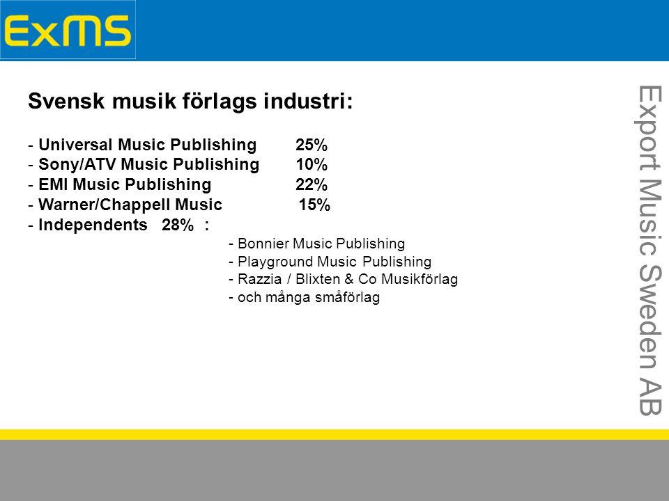 Export Music Sweden AB Svensk musik förlags industri: - Universal Music Publishing25% - Sony/ATV Music Publishing10% - EMI Music Publishing22% - Warner/Chappell Music 15% - Independents28% : - Bonnier Music Publishing - Playground MusicPublishing - Razzia / Blixten & Co Musikförlag - och många småförlag