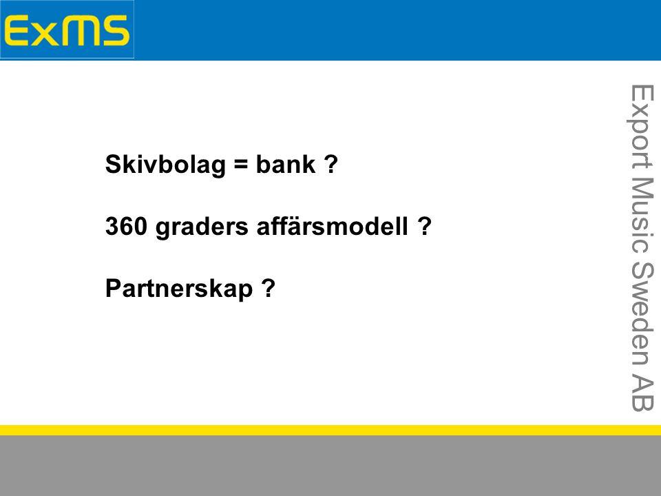 Export Music Sweden AB Skivbolag = bank 360 graders affärsmodell Partnerskap