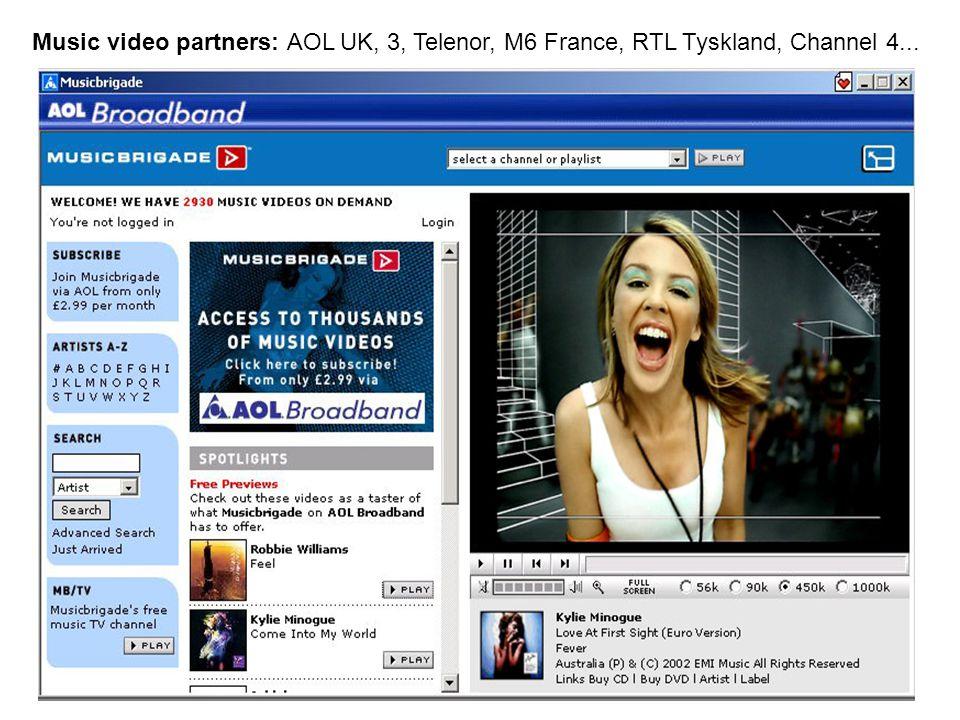 Music video partners: AOL UK, 3, Telenor, M6 France, RTL Tyskland, Channel 4...