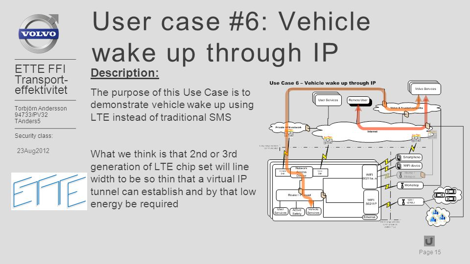 Page 15 ETTE FFI Transport- effektivitet Torbjörn Andersson 94733/PV32 TAnders5 Security class: 23Aug2012 User case #6: Vehicle wake up through IP Description: The purpose of this Use Case is to demonstrate vehicle wake up using LTE instead of traditional SMS What we think is that 2nd or 3rd generation of LTE chip set will line width to be so thin that a virtual IP tunnel can establish and by that low energy be required