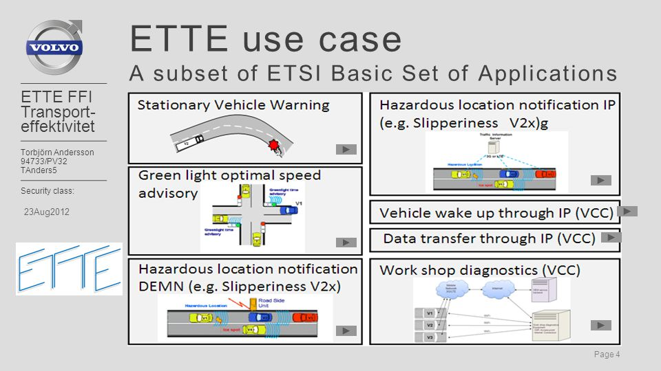 Page 4 ETTE FFI Transport- effektivitet Torbjörn Andersson 94733/PV32 TAnders5 Security class: 23Aug2012 ETTE use case A subset of ETSI Basic Set of Applications