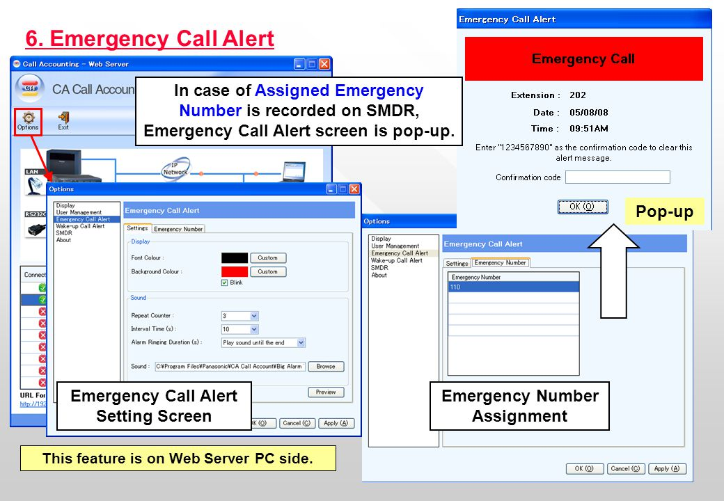 13 6. Emergency Call Alert Emergency Call Alert Setting Screen Emergency Number Assignment Pop-up In case of Assigned Emergency Number is recorded on