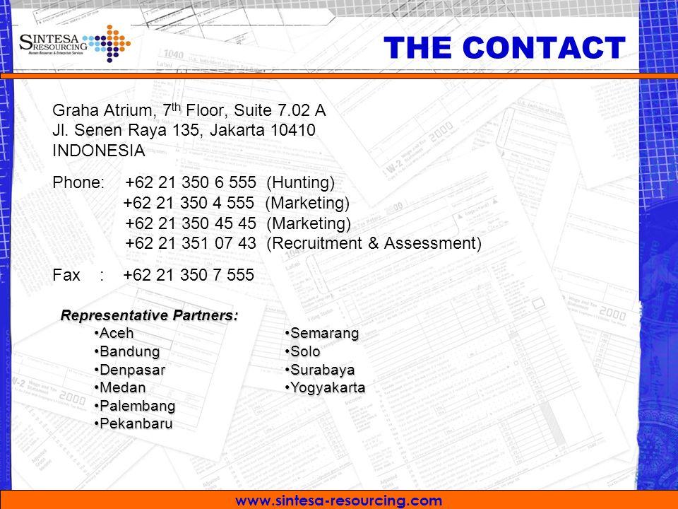 www.sintesa-resourcing.com Graha Atrium, 7 th Floor, Suite 7.02 A Jl. Senen Raya 135, Jakarta 10410 INDONESIA Phone: +62 21 350 6 555 (Hunting) +62 21