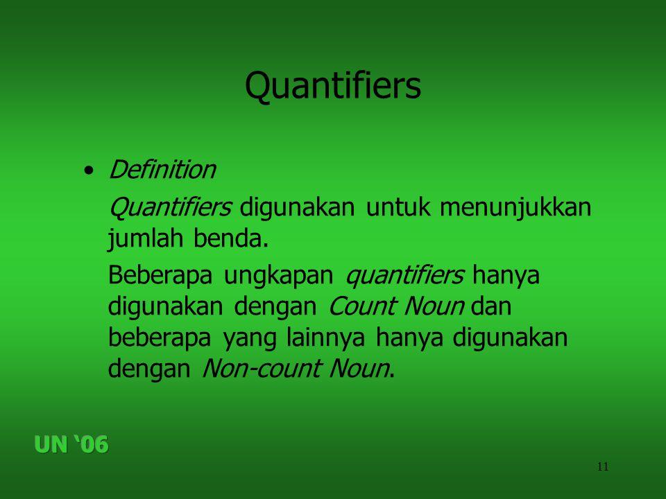 11 Quantifiers •Definition Quantifiers digunakan untuk menunjukkan jumlah benda. Beberapa ungkapan quantifiers hanya digunakan dengan Count Noun dan b