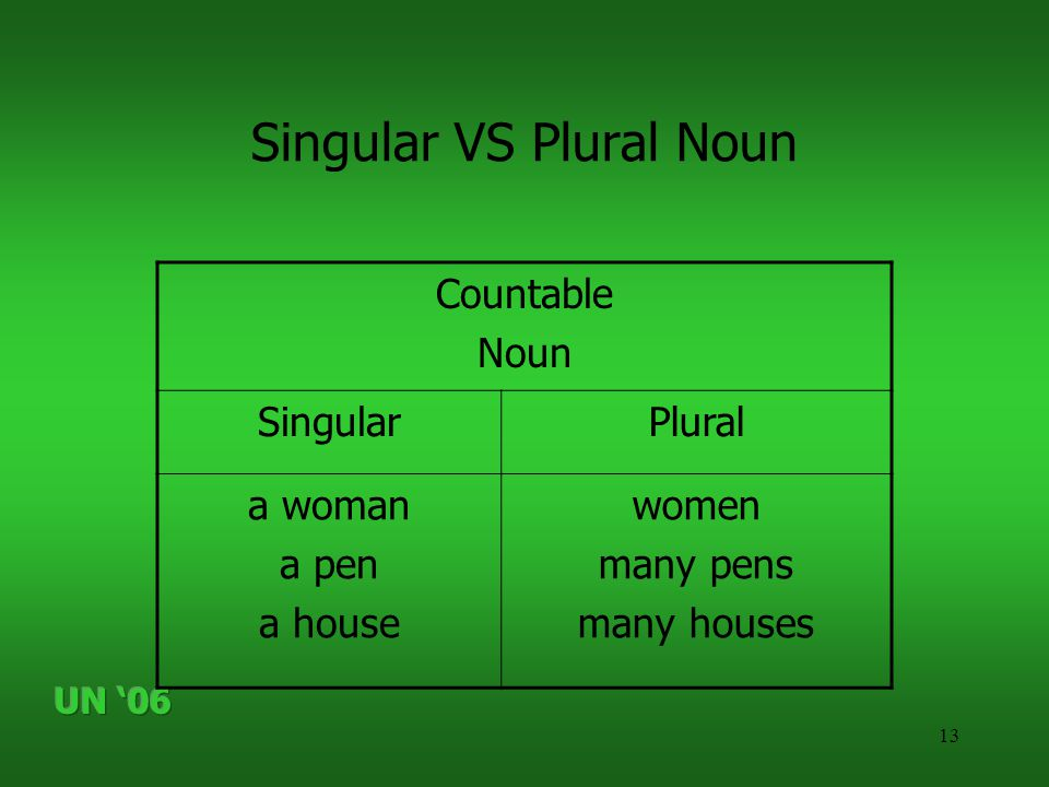 13 Singular VS Plural Noun Countable Noun SingularPlural a woman a pen a house women many pens many houses