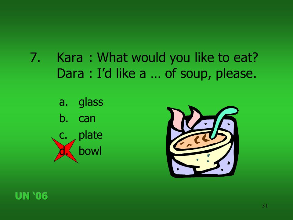 31 7.Kara: What would you like to eat? Dara: I'd like a … of soup, please. a.glass b.can c.plate d.bowl