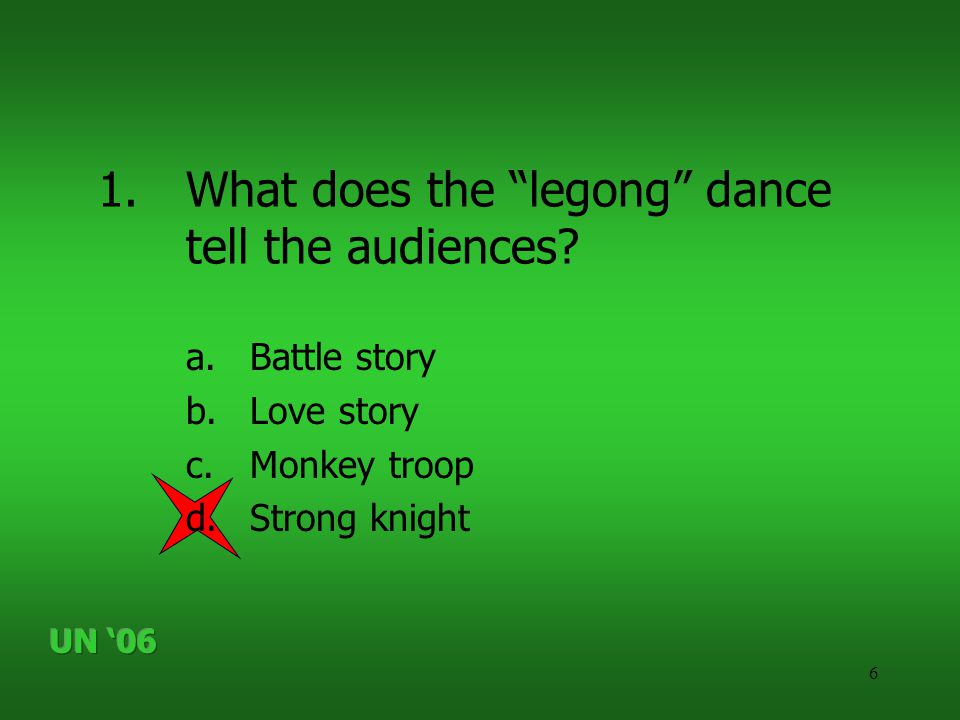 """6 1.What does the """"legong"""" dance tell the audiences? a.Battle story b.Love story c.Monkey troop d.Strong knight"""