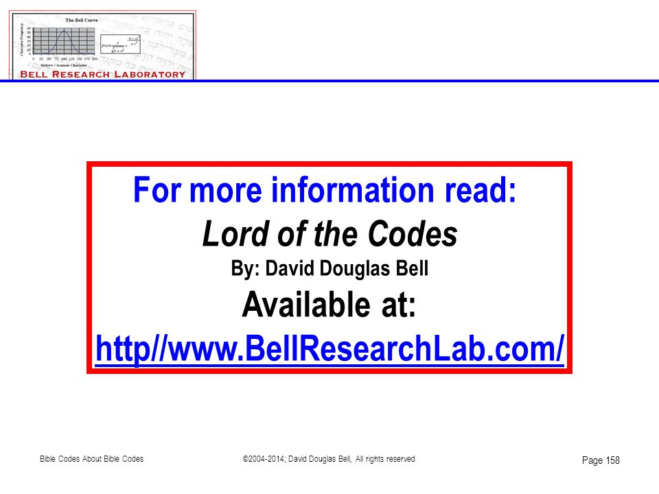 For more information read: Lord of the Codes By: David Douglas Bell Available at: http//www.BellResearchLab.com/ Page 158 ©2004-2014; David Douglas Be