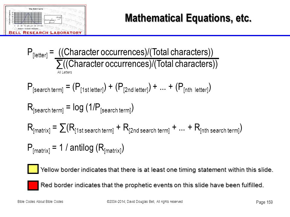 Mathematical Equations, etc. Yellow border indicates that there is at least one timing statement within this slide. Red border indicates that the prop