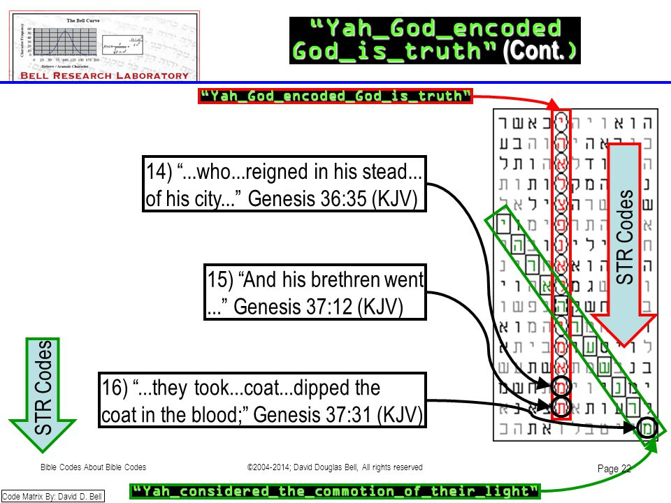 """Yah_God_encoded God_is_truth"" (Cont. ) Code Matrix By: David D. Bell 14) ""...who...reigned in his stead... of his city..."" Genesis 36:35 (KJV) 15) ""A"