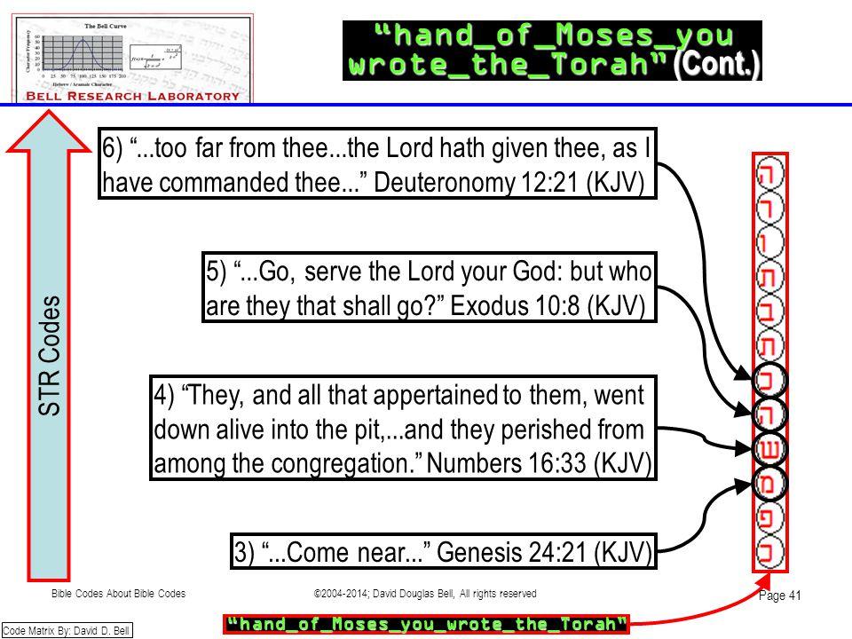 STR Codes hand_of_Moses_you wrote_the_Torah (Cont.) 3) ...Come near... Genesis 24:21 (KJV) hand_of_Moses_you_wrote_the_Torah Code Matrix By: David D.