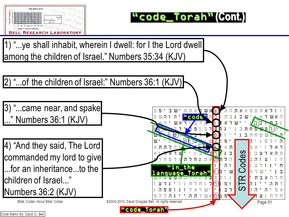 """code_Torah"" (Cont.) ""in_thelanguage_Torah"" ""code"" Code Matrix By: David D. Bell 1) ""...ye shall inhabit, wherein I dwell: for I the Lord dwell among"
