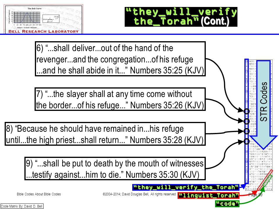 """they_will_verify the_Torah"" (Cont.) ""they_will_verify_the_Torah"" ""code"" ""linguist_Torah"" Code Matrix By: David D. Bell STR Codes 6) ""...shall deliver"