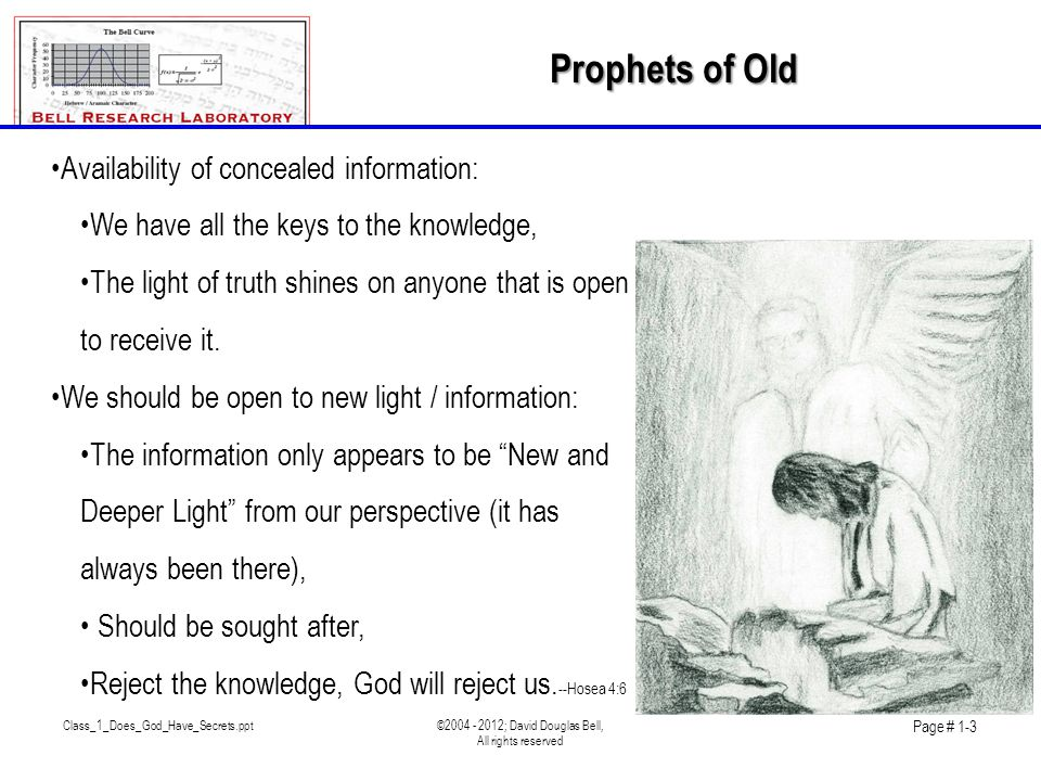 Class_1_Does_God_Have_Secrets.ppt©2004 - 2012; David Douglas Bell, All rights reserved Page # 1-3 •Availability of concealed information: •We have all the keys to the knowledge, •The light of truth shines on anyone that is open to receive it.