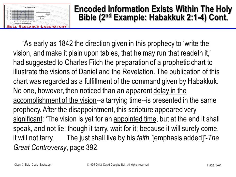 "Class_3-Bible_Code_Basics.ppt©1995-2012; David Douglas Bell, All rights reserved Page 3-41 ""As early as 1842 the direction given in this prophecy to '"
