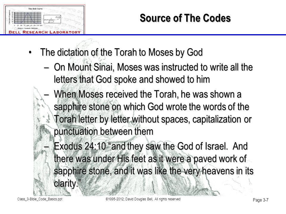 Class_3-Bible_Code_Basics.ppt©1995-2012; David Douglas Bell, All rights reserved Page 3-28 flawless_and_from_above_isthe_Biblical_canon Test 1: 100% in accord with the word of God.