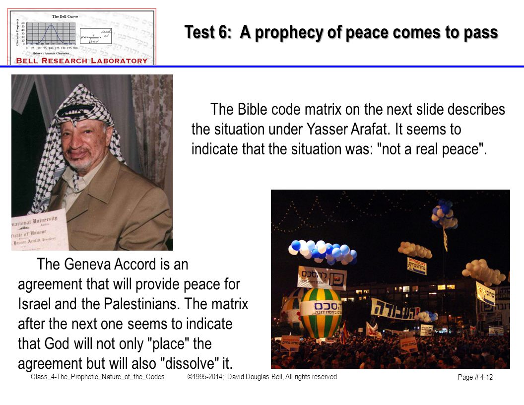 Test 6: A prophecy of peace comes to pass The Geneva Accord is an agreement that will provide peace for Israel and the Palestinians.