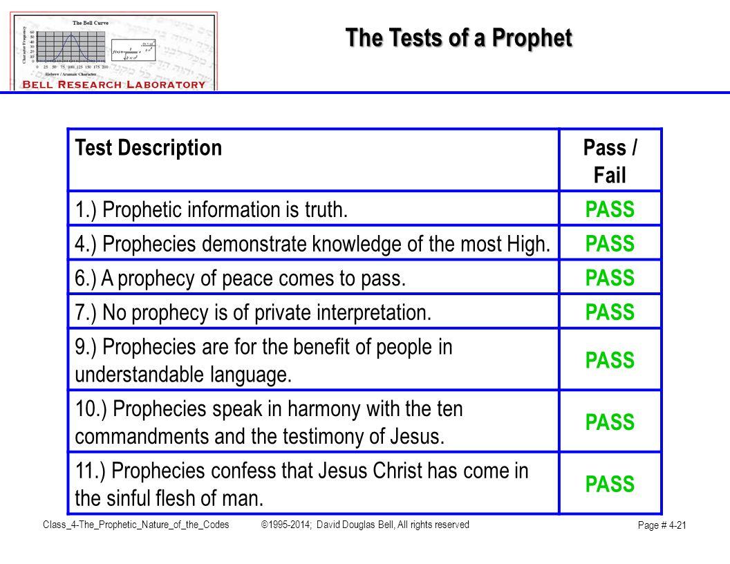 The Tests of a Prophet Test DescriptionPass / Fail 1.) Prophetic information is truth.