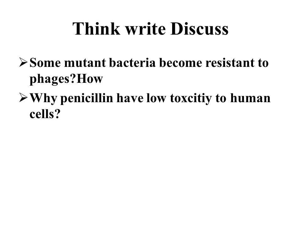 Think write Discuss  Some mutant bacteria become resistant to phages How  Why penicillin have low toxcitiy to human cells