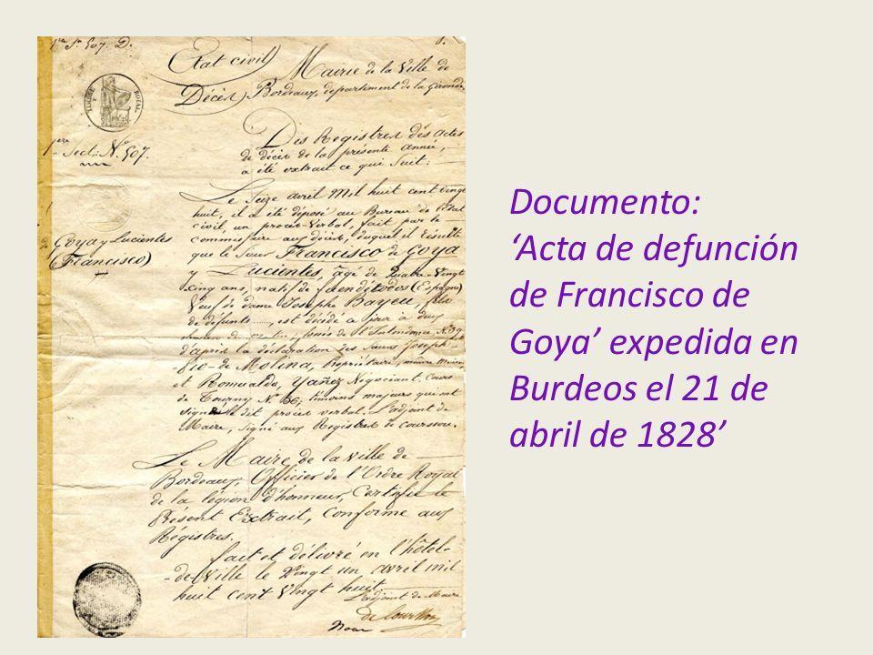 Documento: 'Acta de defunción de Francisco de Goya' expedida en Burdeos el 21 de abril de 1828'