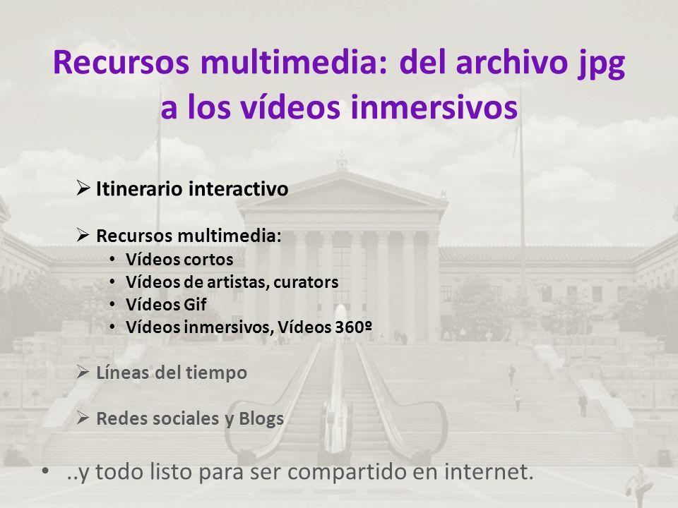 Recursos multimedia: del archivo jpg a los vídeos inmersivos  Itinerario interactivo  Recursos multimedia: Vídeos cortos Vídeos de artistas, curators Vídeos Gif Vídeos inmersivos, Vídeos 360º  Líneas del tiempo  Redes sociales y Blogs..y todo listo para ser compartido en internet.