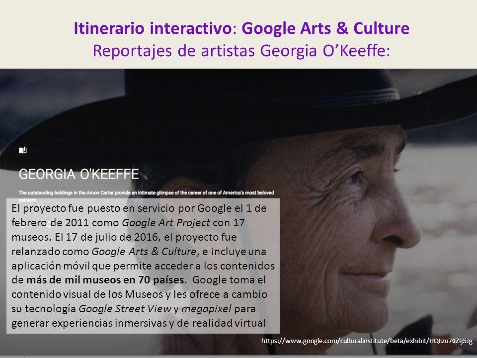 Itinerario interactivo: Google Arts & Culture Reportajes de artistas Georgia O'Keeffe: https://www.google.com/culturalinstitute/beta/exhibit/HQIizu70ZIj5Jg El proyecto fue puesto en servicio por Google el 1 de febrero de 2011 como Google Art Project con 17 museos.